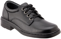 Black Leather Polishable School Footwear