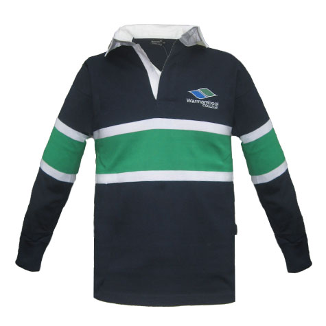 Navy Rugby Top With Green & White Design