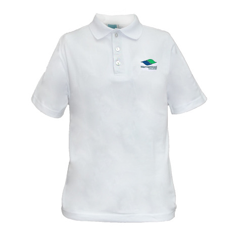 Short Sleeve white polo Shirt with College logo